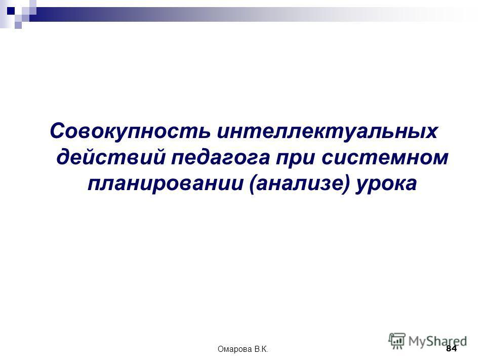 84 Совокупность интеллектуальных действий педагога при системном планировании (анализе) урока Омарова В.К.