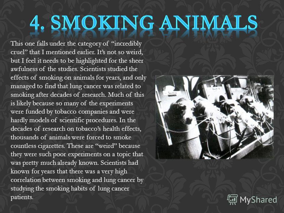 This one falls under the category of incredibly cruel that I mentioned earlier. Its not so weird, but I feel it needs to be highlighted for the sheer awfulness of the studies. Scientists studied the effects of smoking on animals for years, and only m
