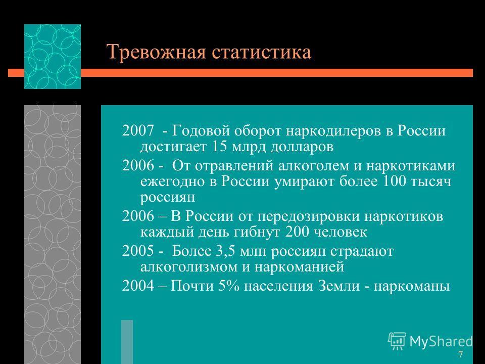 7 Тревожная статистика 2007 - Годовой оборот наркодилеров в России достигает 15 млрд долларов 2006 - От отравлений алкоголем и наркотиками ежегодно в России умирают более 100 тысяч россиян 2006 – В России от передозировки наркотиков каждый день гибну