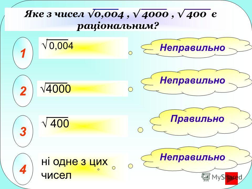 Яке з чисел 0,004, 4000, 400 є раціональним? 1 2 3 ні одне з цих чисел 4 Неправильно Правильно Неправильно 4000 0,004 400