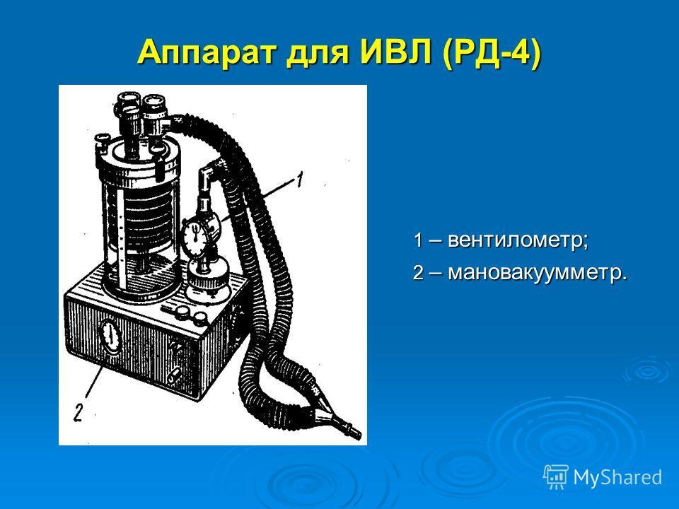Аппарат для ИВЛ (РД-4) 1 – вентилометр; 1 – вентилометр; 2 – мановакуумметр. 2 – мановакуумметр.