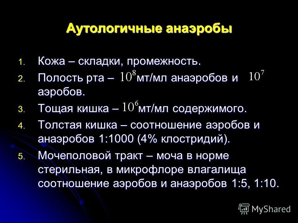 Аутологичные анаэробы 1. Кожа – складки, промежность. 2. Полость рта – мт/мл анаэробов и аэробов. 3. Тощая кишка – мт/мл содержимого. 4. Толстая кишка – соотношение аэробов и анаэробов 1:1000 (4% клостридий). 5. Мочеполовой тракт – моча в норме стери