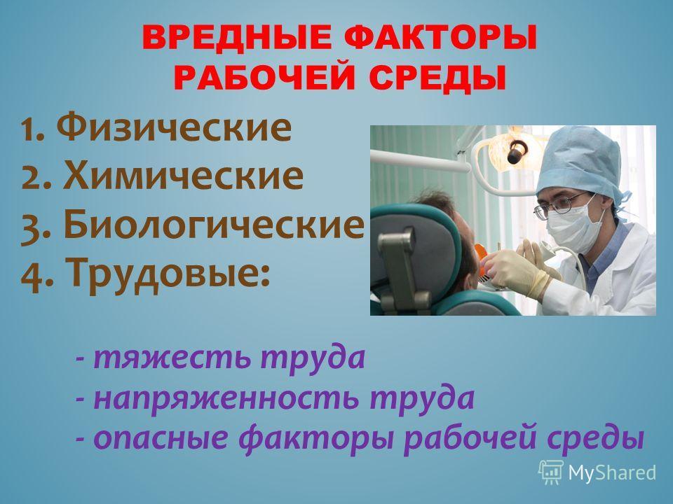 ВРЕДНЫЕ ФАКТОРЫ РАБОЧЕЙ СРЕДЫ 1. Физические 2. Химические 3. Биологические 4. Трудовые: - тяжесть труда - напряженность труда - опасные факторы рабочей среды