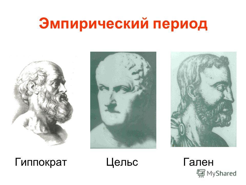 Эмпирический период Гиппократ Цельс Гален