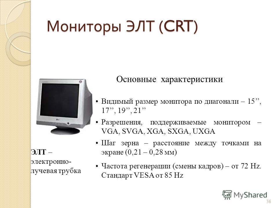Мониторы ЭЛТ (CRT) 35 Свечение люминофора экрана под воздействием электронного луча, формируемого электронной пушкой. Люминофор - вещество, которое испускает свет при бомбардировке заряженными частицами. Люминофорный слой состоит из маленьких элемент
