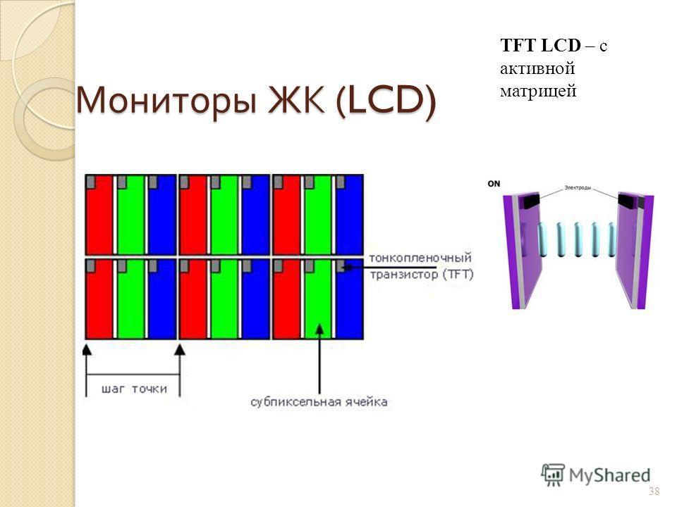 Мониторы ЖК (LCD) 37 ЖК – жидко- кристаллические LCD – Liquid Crystal Display Управление светом лампы подсветки, проходящим через слой жидких кристаллов за счёт изменения ими плоскости поляризации.