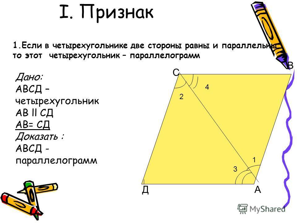I. Признак С В ДА 2 1 4 3 1. Если в четырехугольнике две стороны равны и параллельны, то этот четырехугольник – параллелограмм Дано: АВСД – четырехугольник АВ ll СД АВ= СД Доказать : АВСД - параллелограмм