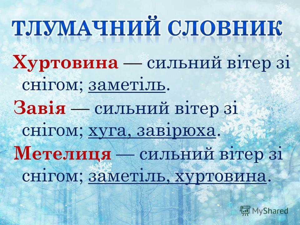 Хуртовина сильний вітер зі снігом; заметіль. Завія сильний вітер зі снігом; куга, завірюха. Метелиця сильний вітер зі снігом; заметіль, хуртовина.