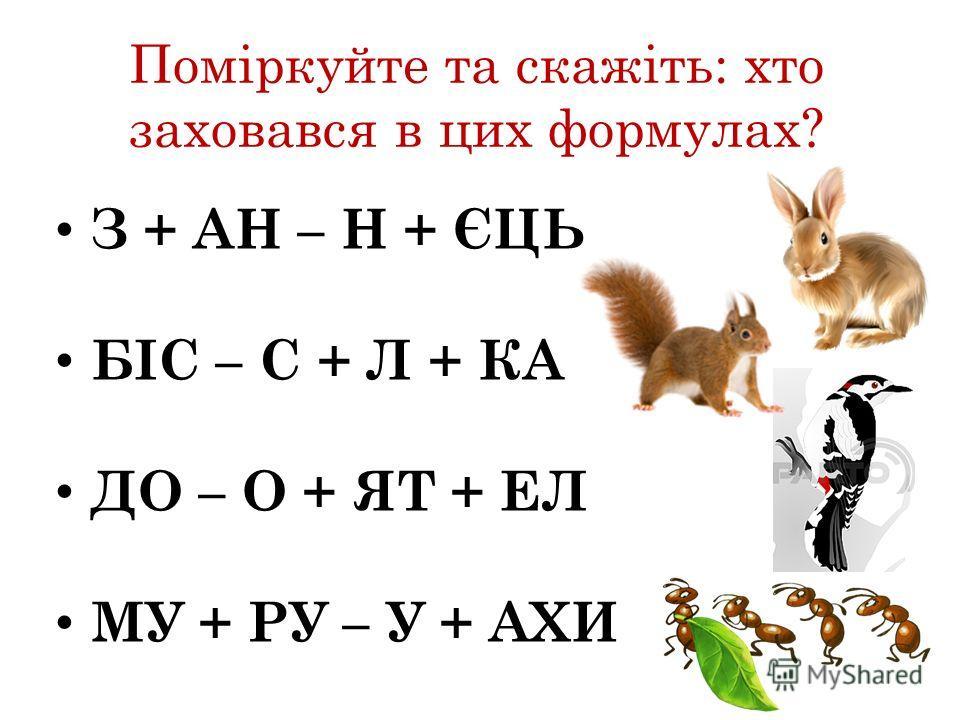 Поміркуйте та скажіть: кто заховався в цик формулах? З + АН – Н + ЄЦЬ БІС – С + Л + КА ДО – О + ЯТ + ЕЛ МУ + РУ – У + АХИ