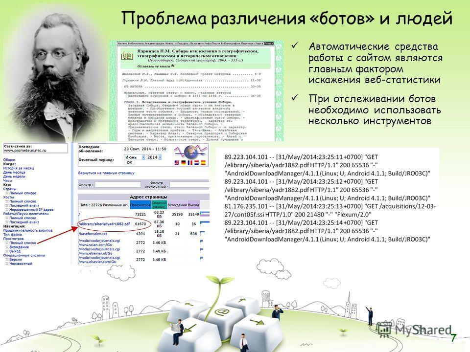 Проблема различения «ботов» и людей Автоматические средства работы с сайтом являются главным фактором искажения веб-статистики При отслеживании ботов необходимо использовать несколько инструментов 7