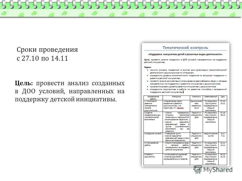 Сроки проведения с 27.10 по 14.11 Цель: провести анализ созданных в ДОО условий, направленных на поддержку детской инициативы.