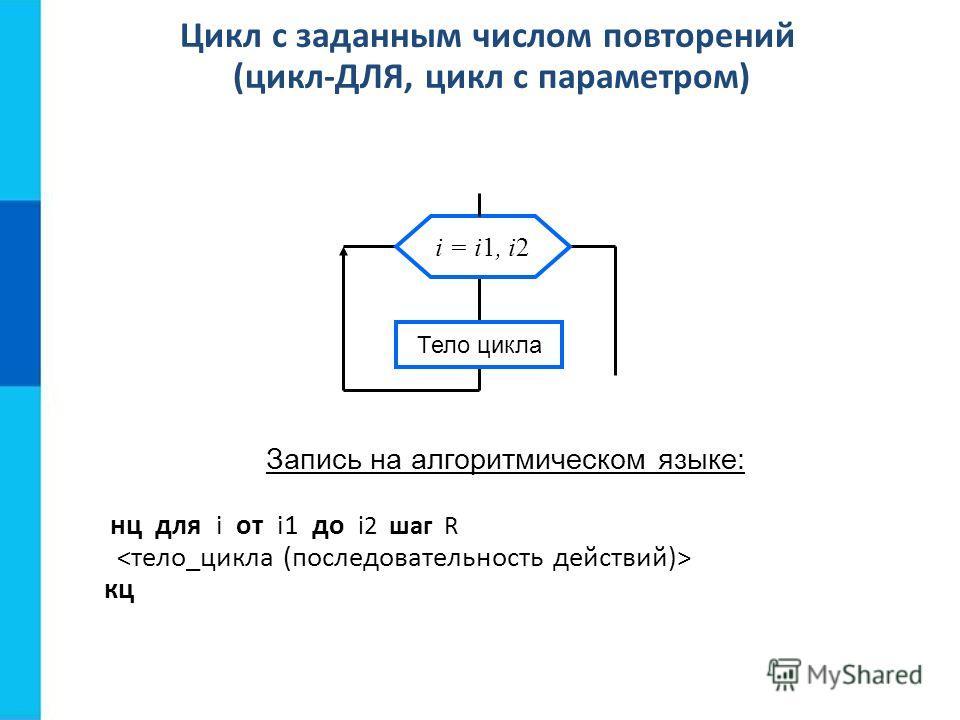 Цикл с заданным числом повторений (цикл-ДЛЯ, цикл с параметром) Запись на алгоритмическом языке: нц для i от i1 до i2 шаг R кц Тело цикла i = i1, i2