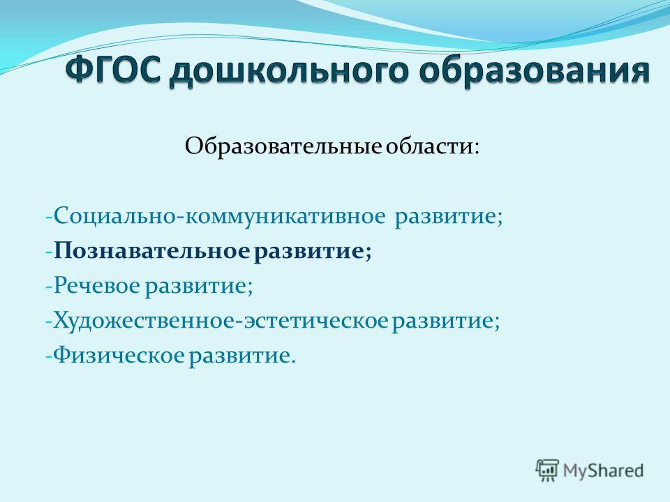 Образовательные области: - Социально-коммуникативное развитие; - Познавательное развитие; - Речевое развитие; - Художественное-эстетическое развитие; - Физическое развитие.