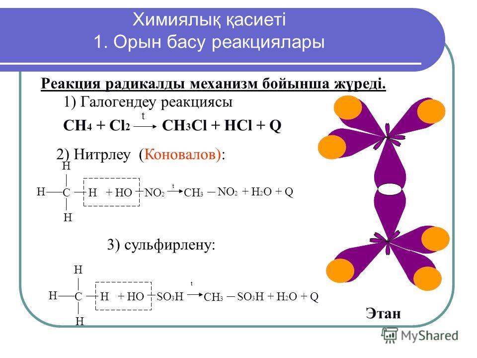 СН 4 + Сl 2 CH 3 Cl + HCl + Q t Реакция радикалы механизм бойынша жүреді. Этан б) Нитрование С Н Н Н Н + НО NO 2 СН 3 NO 2 + H 2 O + Q в) Сульфирование С Н Н Н Н + НО SO 3 H СН 3 SO 3 H + H 2 O + Q t t Химиялық қасиеті 1. Орын басу реакция лары 2) Ни