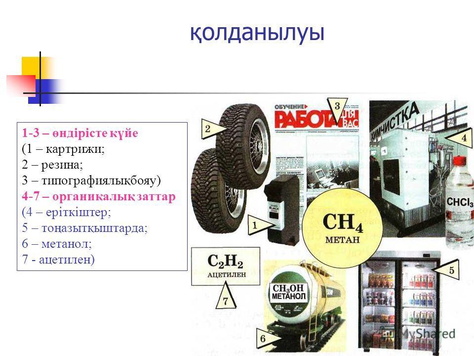 қолданылуы 1-3 – өндірісте күйе (1 – картриджи; 2 – резина; 3 – типографиялықбояу) 4-7 – органикалық затрат (4 – еріткіштер; 5 – тоңазытқыштарда; 6 – метанол; 7 - ацетилен)