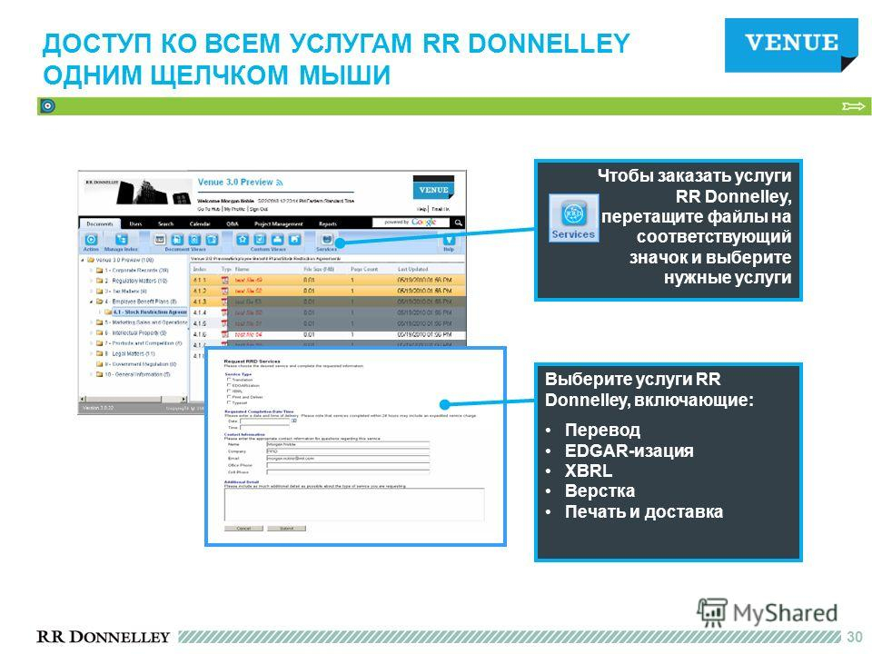 30 Чтобы заказать услуги RR Donnelley, перетащите файлы на соответствующий значок и выберите нужные услуги Выберите услуги RR Donnelley, включающие: Перевод EDGAR-изация XBRL Верстка Печать и доставка ДОСТУП КО ВСЕМ УСЛУГАМ RR DONNELLEY ОДНИМ ЩЕЛЧКОМ
