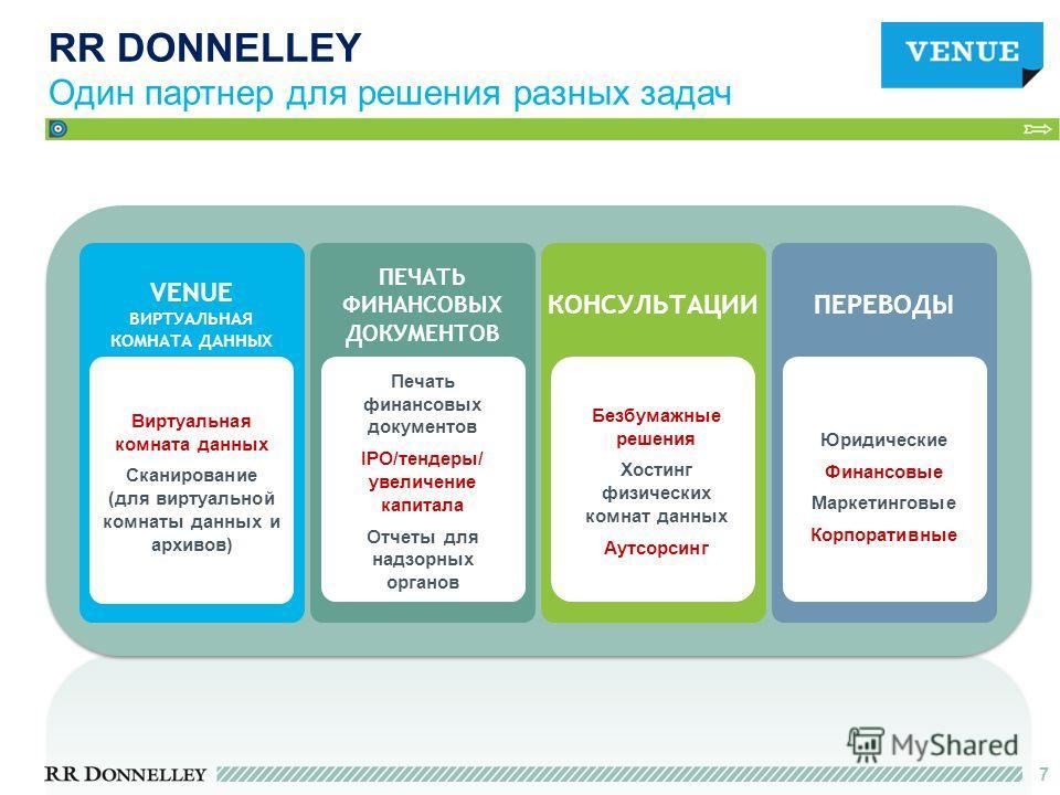 7 RR DONNELLEY Один партнер для решения разных задач Виртуальная комната данных Сканирование (для виртуальной комнаты данных и архивов) VENUE ВИРТУАЛЬНАЯ КОМНАТА ДАННЫХ ПЕРЕВОДЫ Юридические Финансовые Маркетинговые Корпоративные Безбумажные решения Х