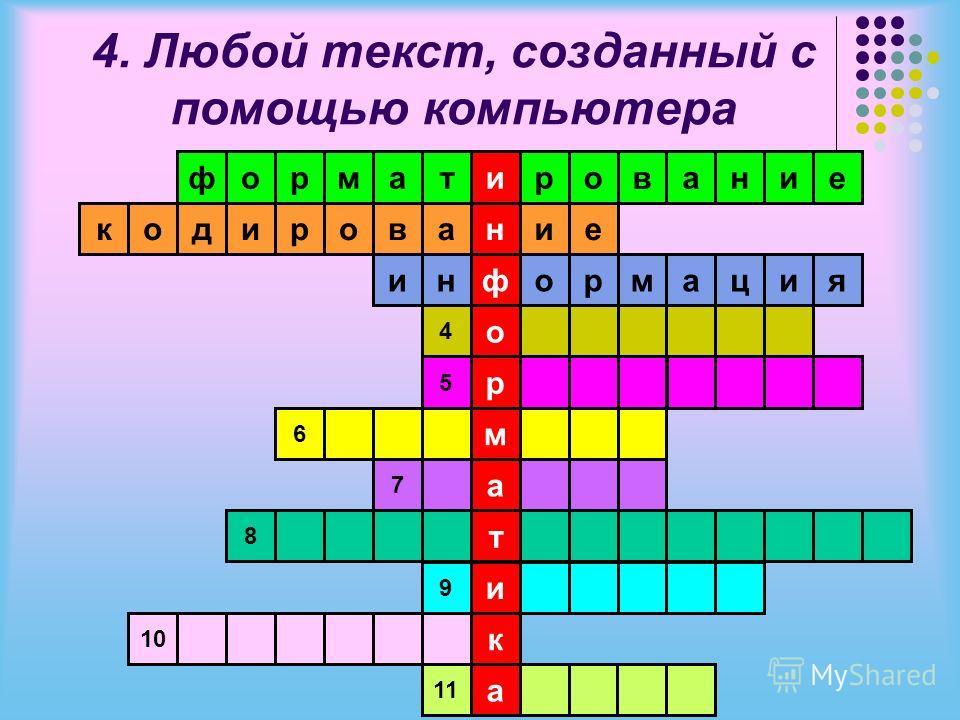 4. Любой текст, созданный с помощью компьютера и н ф о р м а т и к а тамрофровани аворидокие информация 4 5 6 7 8 9 10 11 е