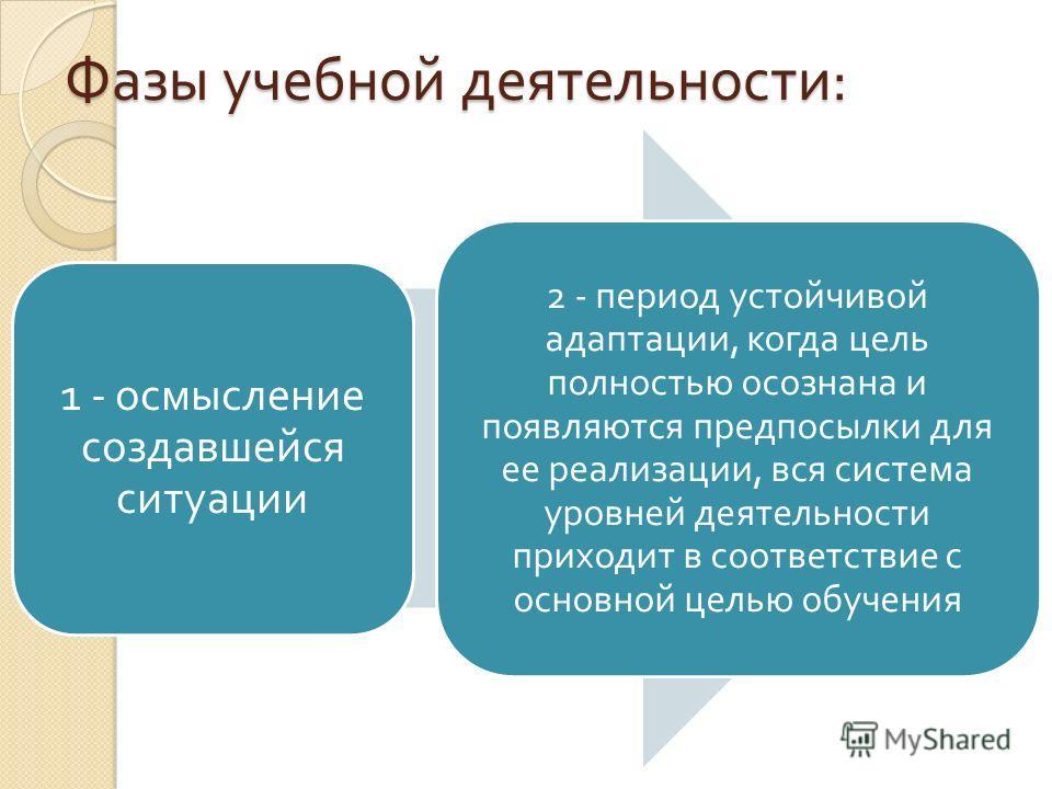 Фазы учебной деятельности : 1 - осмысление создавшейся ситуации 2 - период устойчивой адаптации, когда цель полностью осознана и появляются предпосылки для ее реализации, вся система уровней деятельности приходит в соответствие с основной целью обуче