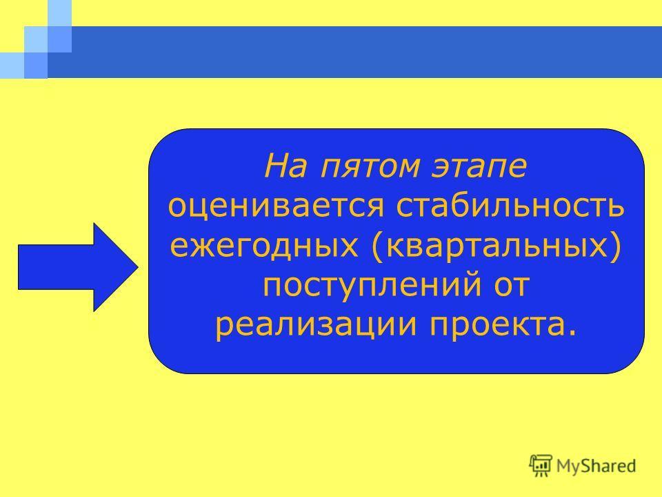На пятом этапе оценивается стабильность ежегодных (квартальных) поступлений от реализации проекта.