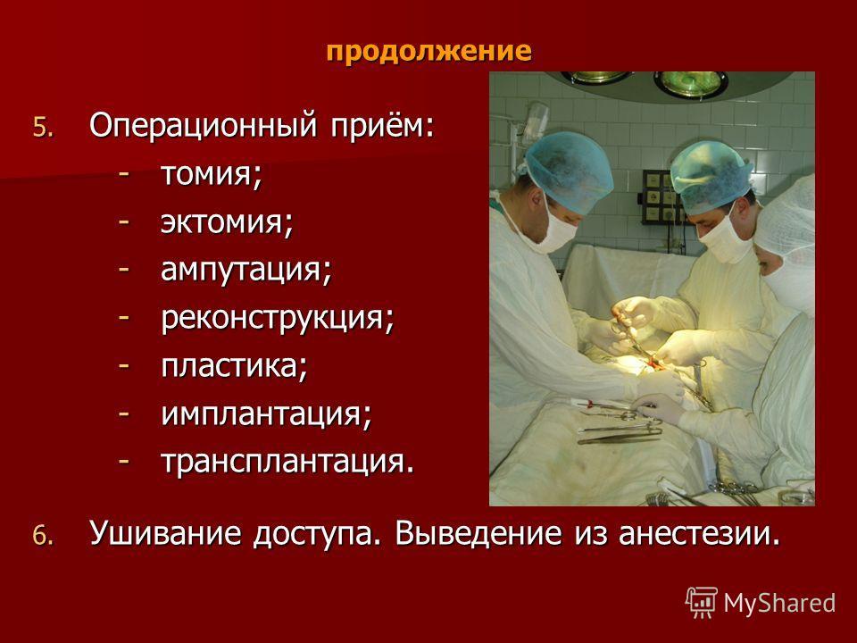 продолжение 5. Операционный приём: -томия; -эктомия; -ампутация; -реконструкция; -пластика; -имплантация; -трансплантация. 6. Ушивание доступа. Выведение из анестезии.