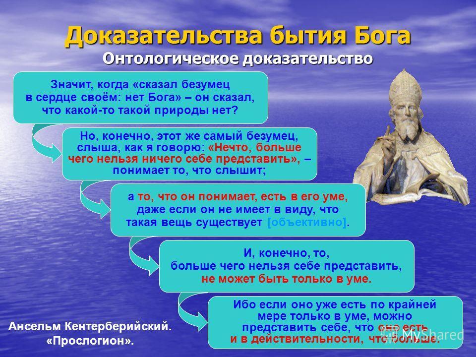 Значит, когда «сказал безумец в сердце своём: нет Бога» – он сказал, что какой-то такой природы нет? Но, конечно, этот же самый безумец, слыша, как я говорю: «Нечто, больше чего нельзя ничего себе представить», – понимает то, что слышит; Доказательст