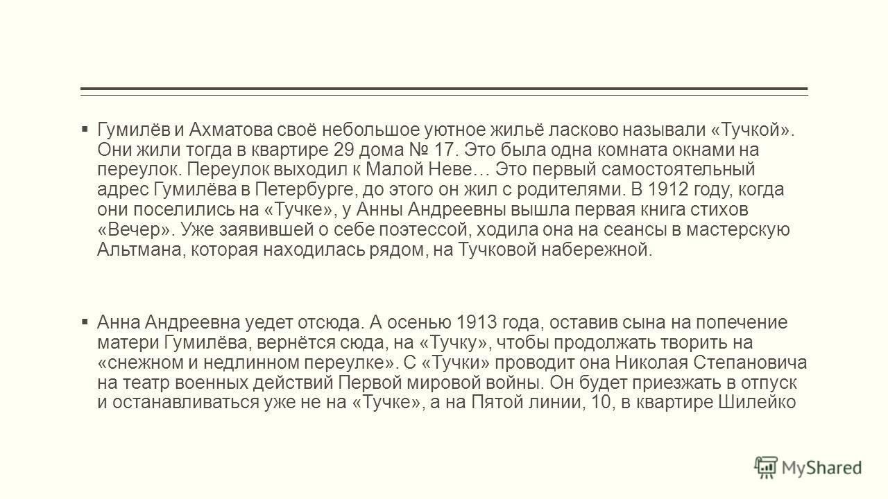 Гумилёв и Ахматова своё небольшое уютное жильё ласково называли «Тучкой». Они жили тогда в квартире 29 дома 17. Это была одна комната окнами на переулок. Переулок выходил к Малой Неве… Это первый самостоятельный адрес Гумилёва в Петербурге, до этого