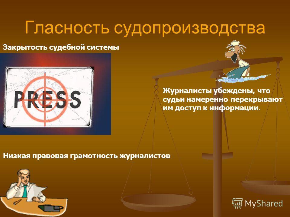 Гласность судопроизводства Закрытость судебной системы Журналисты убеждены, что судьи намеренно перекрывают им доступ к информации. Низкая правовая грамотность журналистов