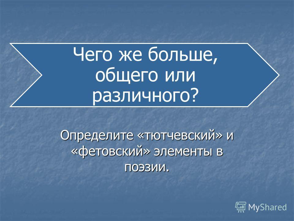 Чего же больше, общего или различного? Определите «тютчевский» и «фетовский» элементы в поэзии.