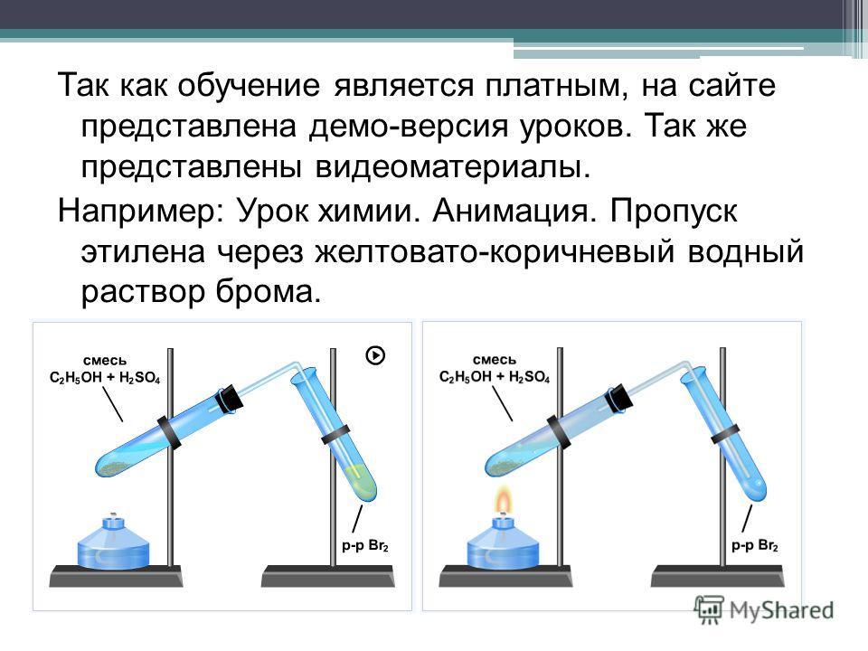 Так как обучение является платным, на сайте представлена демо-версия уроков. Так же представлены видеоматериалы. Например: Урок химии. Анимация. Пропуск этилена через желтовато-коричневый водный раствор брома.