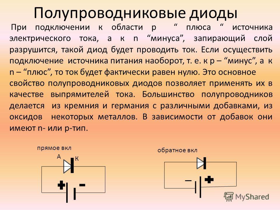 Полупроводниковые диоды При подключении к области p плюса источника электрического тока, а к n минуса, запирающий слой разрушится, такой диод будет проводить ток. Если осуществить подключение источника питания наоборот, т. е. к p – минус, а к n – плю