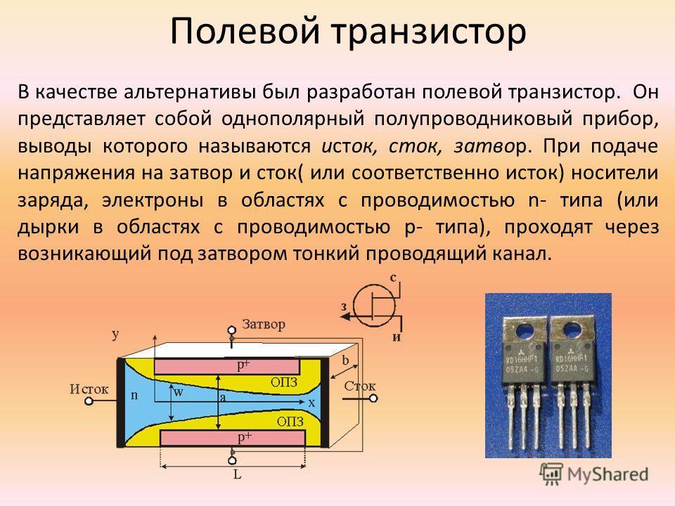 Полевой транзистор В качестве альтернативы был разработан полевой транзистор. Он представляет собой однополярный полупроводниковый прибор, выводы которого называются исток, сток, затвор. При подаче напряжения на затвор и сток( или соответственно исто