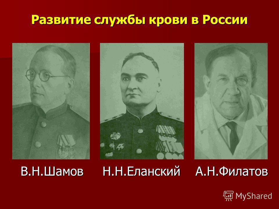 Развитие службы крови в России В.Н.Шамов Н.Н.Еланский А.Н.Филатов В.Н.Шамов Н.Н.Еланский А.Н.Филатов