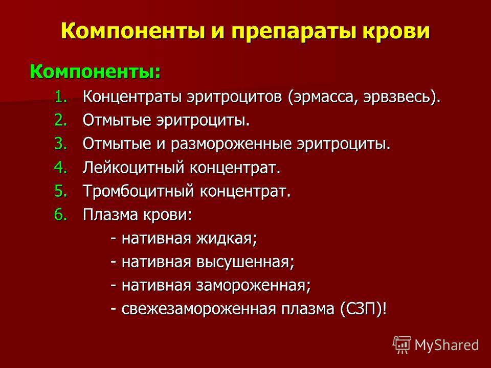 Компоненты и препараты крови Компоненты: 1. Концентраты эритроцитов (эрмасса, эрвзвесь). 2. Отмытые эритроциты. 3. Отмытые и размороженные эритроциты. 4. Лейкоцитный концентрат. 5. Тромбоцитный концентрат. 6. Плазма крови: - нативная жидкая; - нативн