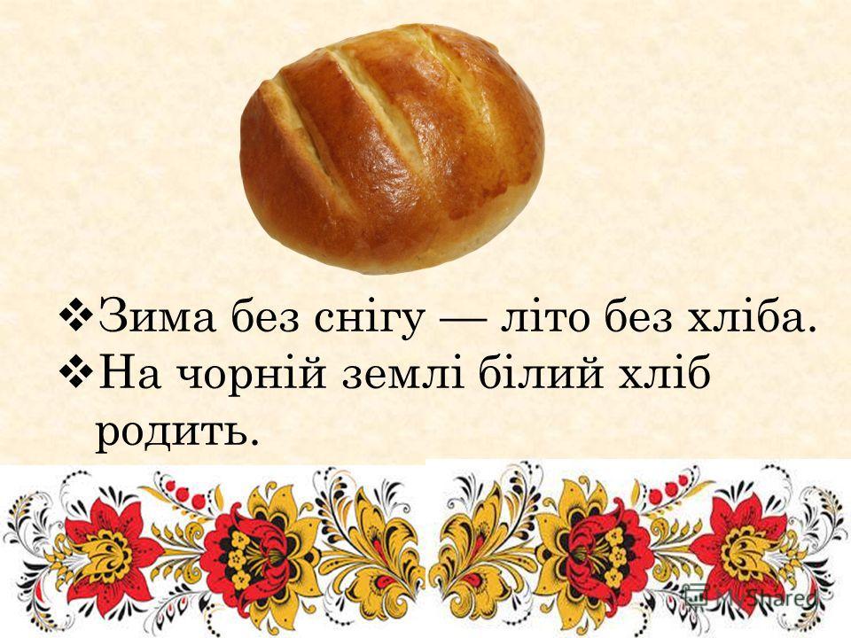 Зима без снігу літо без хліба. На чорній землі білий хліб родить.
