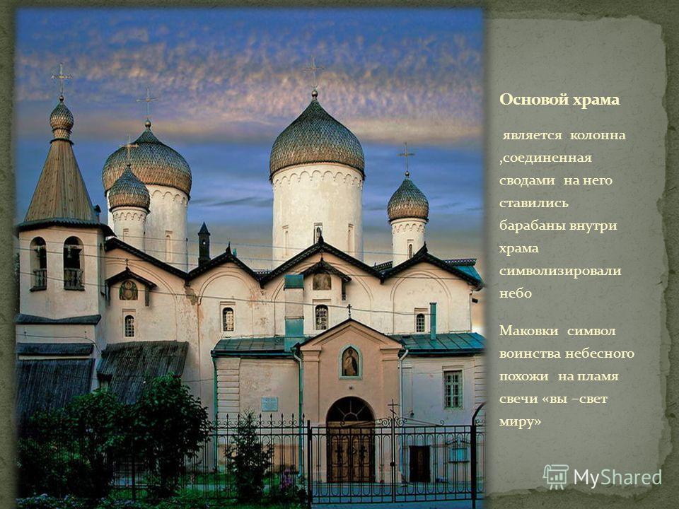 является колонна,соединенная сводами на него ставились барабаны внутри храма символизировали небо Маковки символ воинства небесного похожи на пламя свечи «вы –свет миру»