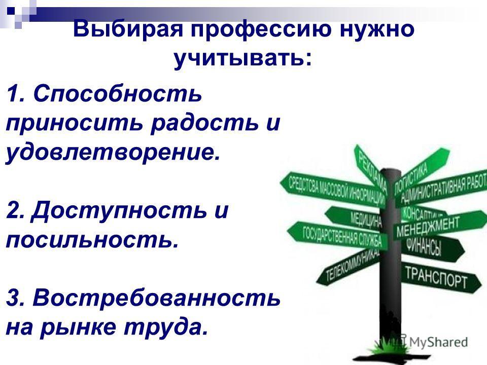 Выбирая профессию нужно учитывать: 1. Способность приносить радость и удовлетворение. 2. Доступность и посильность. 3. Востребованность на рынке труда.