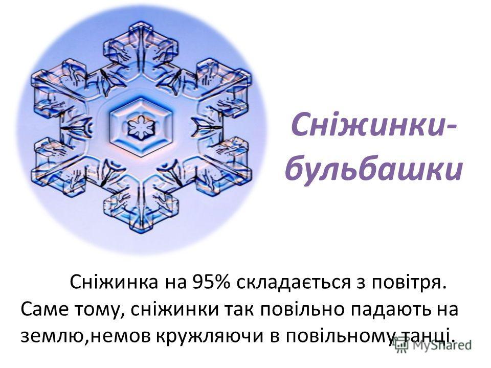 Сніжинки- бульбашки Сніжинка на 95% складається з повітря. Саме тому, сніжинки так повільно падають на землю,немов кружляючи в повільному танці.