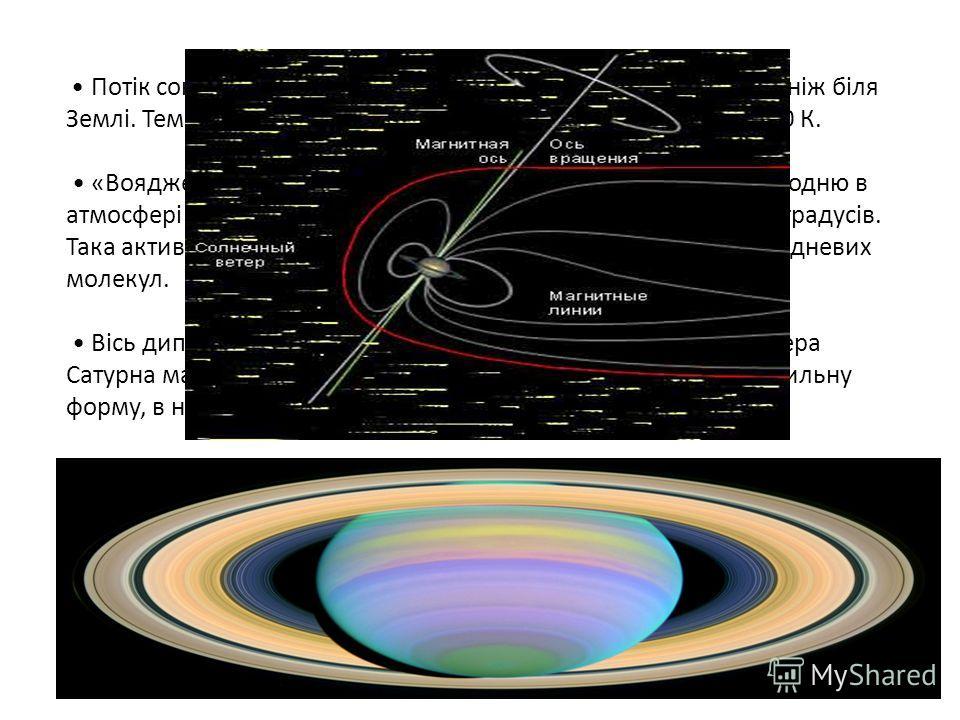 Потік сонячної енергії, що досягає Сатурна, у 91 раз меньший, ніж біля Землі. Температура на нижній межі храм Сатурна становить 150 К. «Вояджери» зафіксували ультрафіолетове випромінювання водню в атмосфері середніх широт і полярні сяйва на широтах в