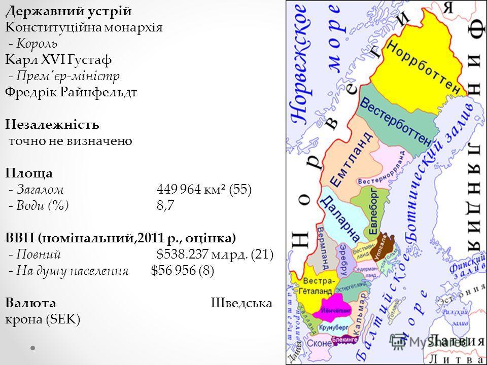 Державний устрій Конституційна монархія - Король Карл XVI Густаф - Прем'єр-міністр Фредрік Райнфельдт Незалежність точно не визначено Площа - Загалом 449 964 км² (55) - Води (%) 8,7 ВВП (номінальний,2011 р., оцінка) - Повний $538.237 млрд. (21) - На