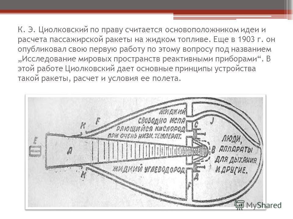 К. Э. Циолковский по праву считается основоположником идеи и расчета пассажирской ракеты на жидком топливе. Еще в 1903 г. он опубликовал свою первую работу по этому вопросу под названием Исследование мировых пространств реактивными приборами. В этой