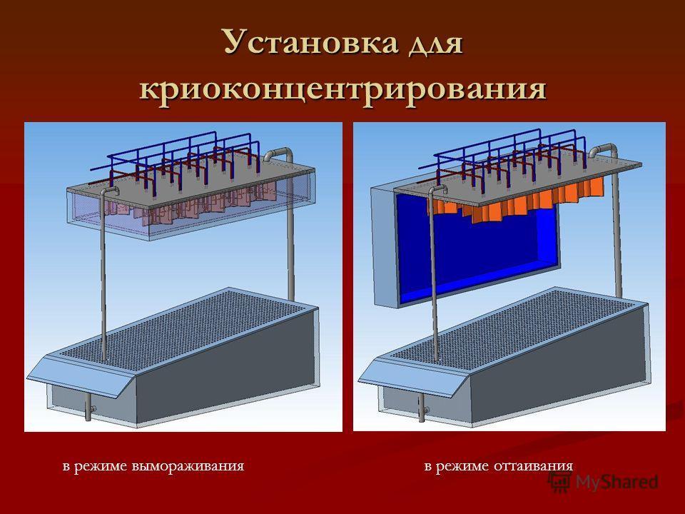 Установка для криоконцентрирования в режиме вымораживания в режиме оттаивания