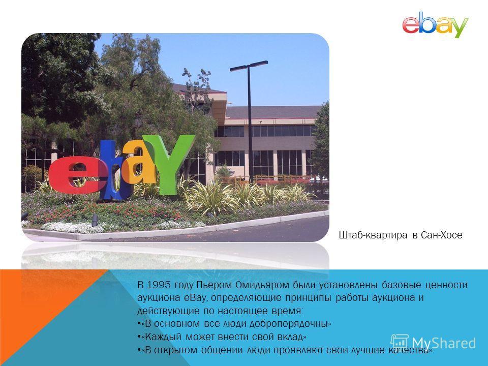 В 1995 году Пьером Омидьяром были установлены базовые ценности аукциона eBay, определяющие принципы работы аукциона и действующие по настоящее время: «В основном все люди добропорядочны» «Каждый может внести свой вклад» «В открытом общении люди прояв
