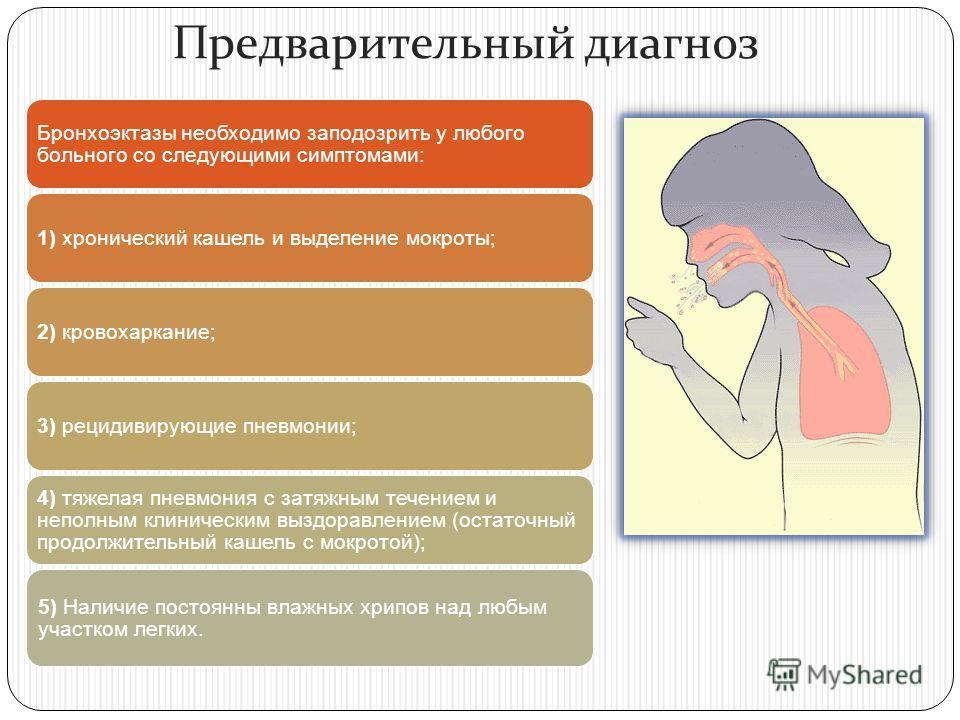Предварительный диагноз Бронхоэктазы необходимо заподозрить у любого больного со следующими симптомами: 1) хронический кашель и выделение мокроты;2) кровохаркание;3) рецидивирующие пневмонии; 4) тяжелая пневмония с затяжным течением и неполным клинич