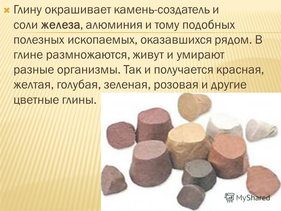 Глину окрашивает камень-создатель и соли железа, алюминия и тому подобных полезных ископаемых, оказавшихся рядом. В глине размножаются, живут и умирают разные организмы. Так и получается красная, желтая, голубая, зеленая, розовая и другие цветные гли