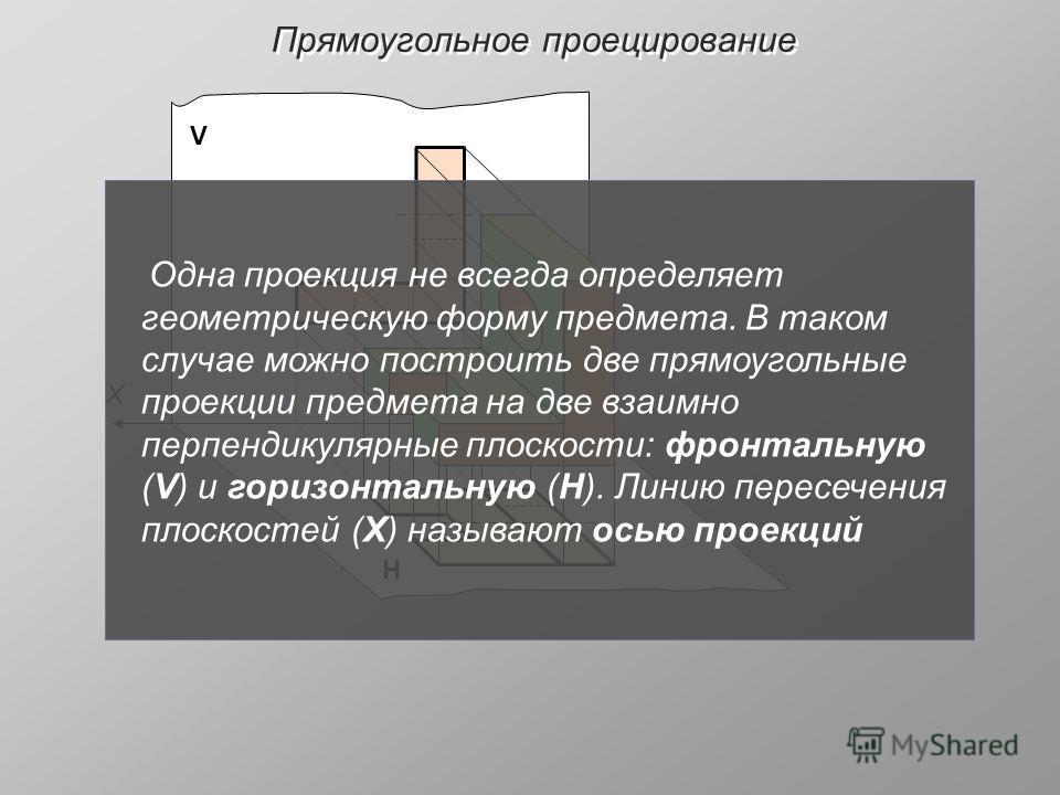 Прямоугольное проецирование V Н X Одна проекция не всегда определяет геометрическую форму предмета. В таком случае можно построить две прямоугольные проекции предмета на две взаимно перпендикулярные плоскости: фронтальную (V) и горизонтальную (Н). Ли