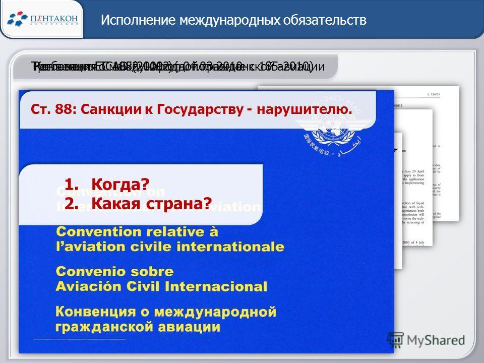Исполнение международных обязательств Регламент ЕС 1082-1012 (дополнение к 185-2010) 22.11.12 Часть 9: … должны быть: - ограждения… - системы сигнализации… - видеонаблюдение… - обученный персонал… Регламент ЕС 185-2010 от 04.03.2010Требования ICAO (2