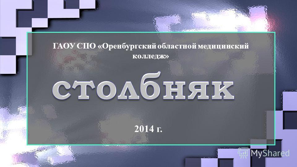 ГАОУ СПО «Оренбургский областной медицинский колледж» 2014 г.
