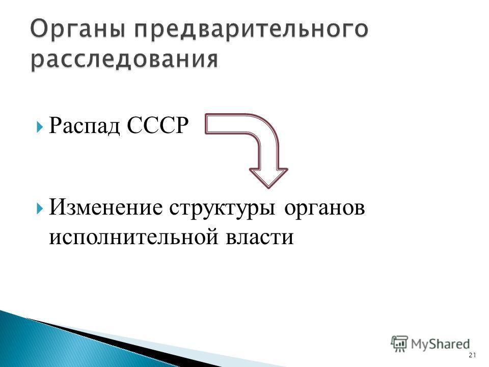 Распад СССР Изменение структуры органов исполнительной власти 21