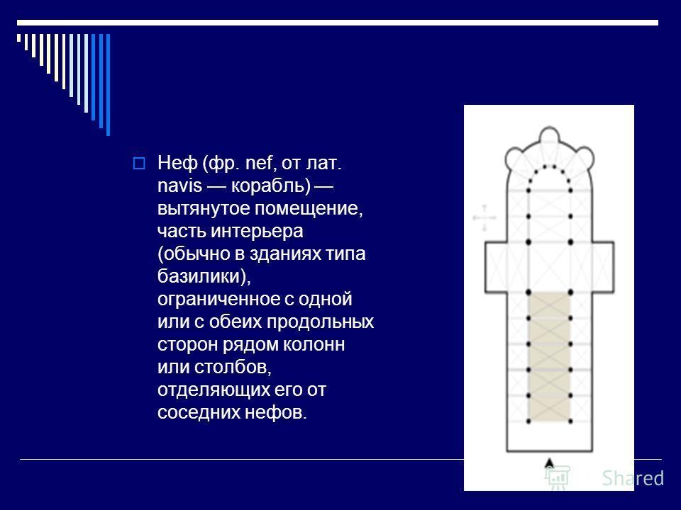 Неф (фр. nef, от лат. navis корабль) вытянутое помещение, часть интерьера (обычно в зданиях типа базилики), ограниченное с одной или с обеих продольных сторон рядом колонн или столбов, отделяющих его от соседних нефов.